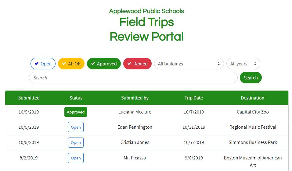 Screenshot of Field Trip Review Portal